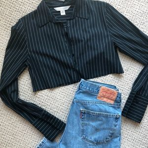 Stripped cropped button down top